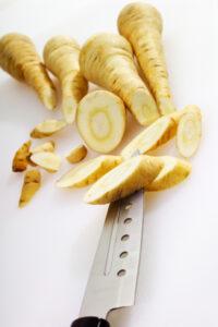Close up raw parsnip