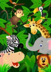 Wild animals in jungle cartoon