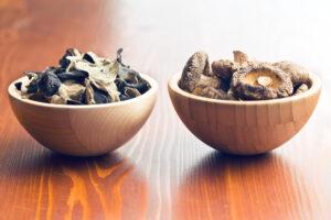 dry ear and shiitake mushrooms