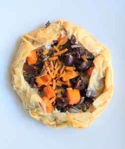 Leeks sweet potato phyllo torte