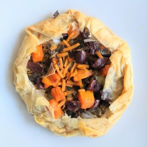 Leeks sweet potato phyllo torte