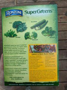 Ronzoni SuperGreen Pasta ingredients