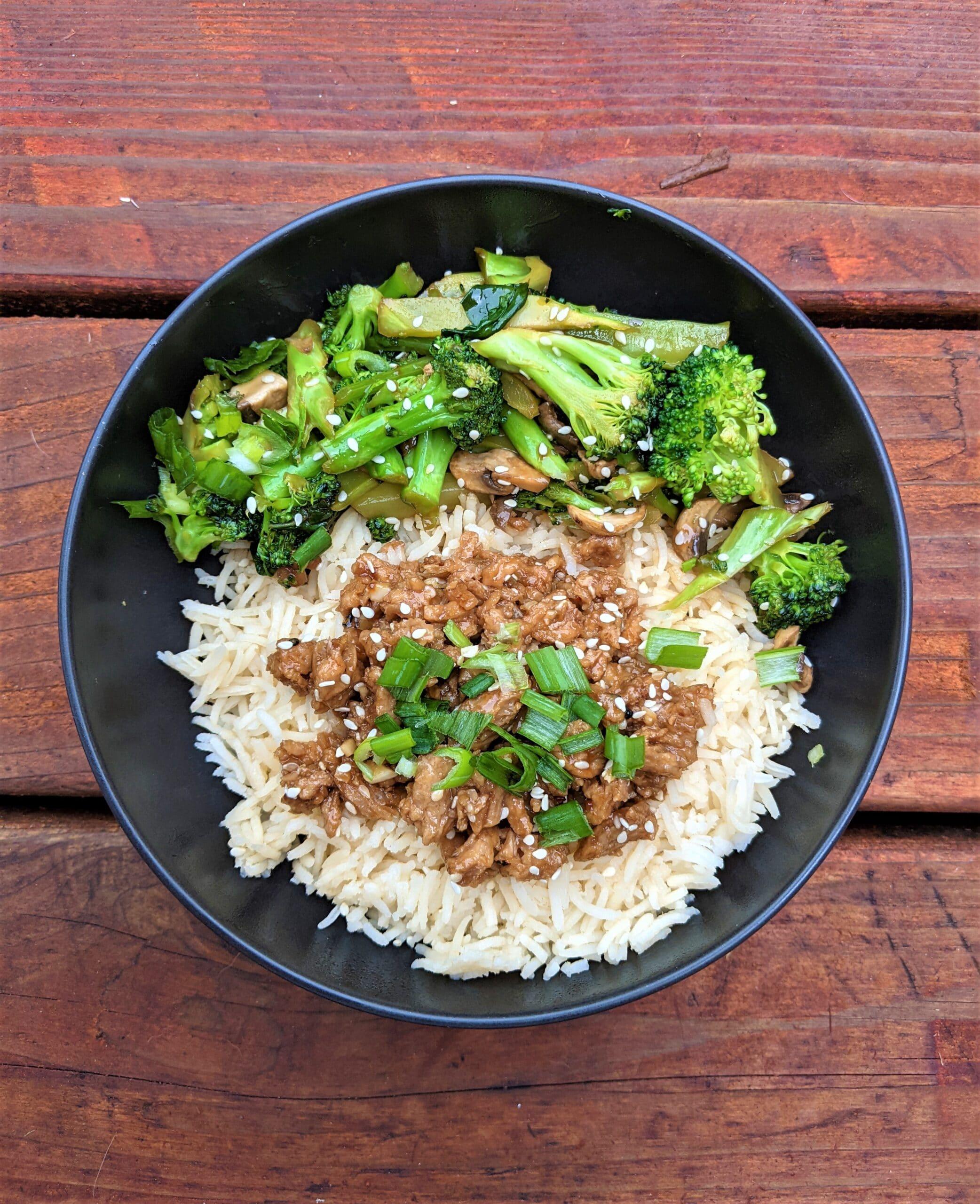 Vegan Mongolian beef broccoli