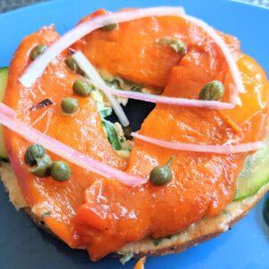 Vegan lox on bagel