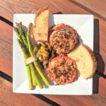 eggplant stacks with roasted asparagus