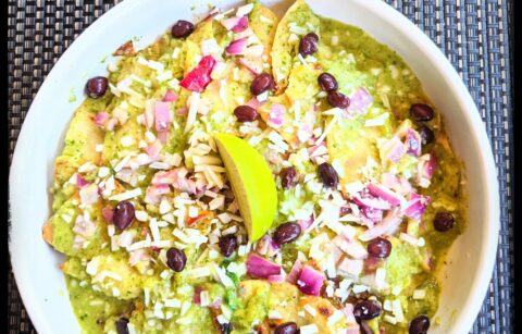Green chilaquiles with vegan cotija cheese