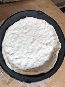 Dough in Cast iron pan