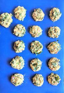 lentil fritters on baking sheet